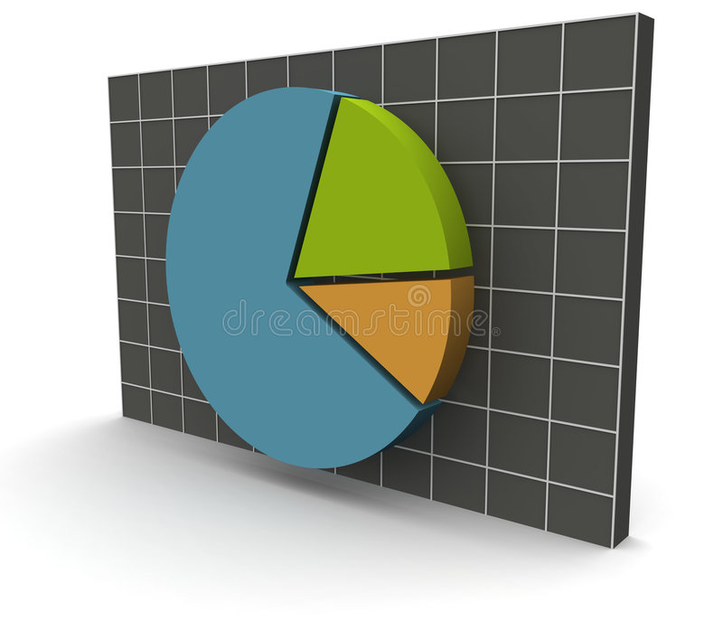 3D Data Graph over a grid royalty free illustration