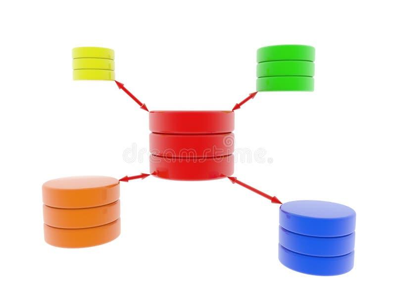 3d database scheme. Isolated database scheme. Computer render vector illustration