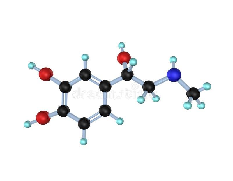 3D de Adrenaline van de molecule royalty-vrije illustratie
