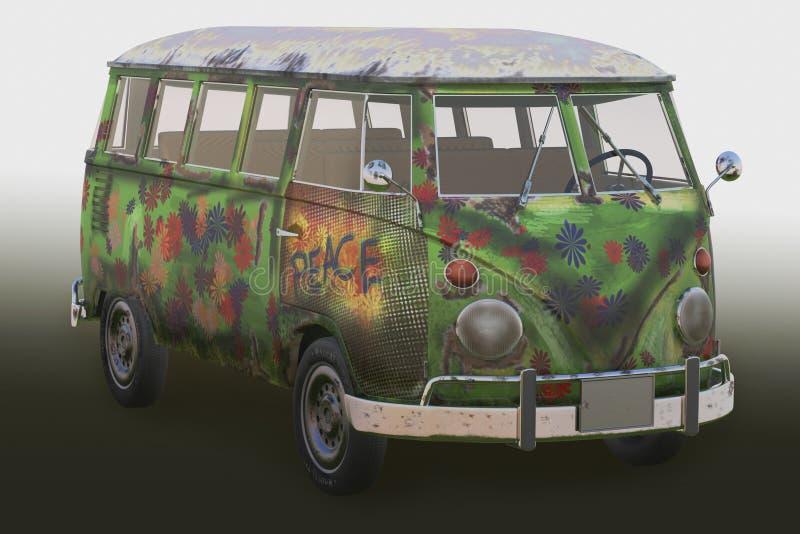 3d de bestelwagen van de hippie stock illustratie