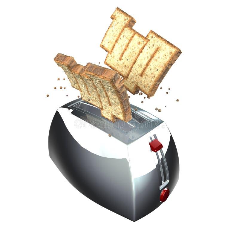 3d de broodroosterillustratie van de goedemorgen royalty-vrije illustratie