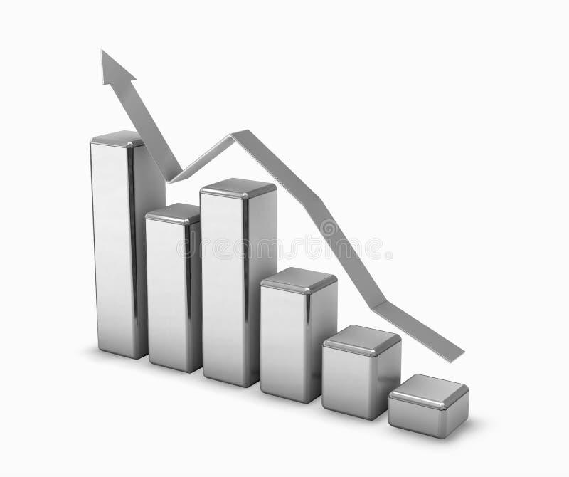3d de grafiekstaven van het chroom stock illustratie