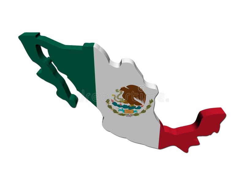 3d de kaart de vlag van Mexico geeft terug vector illustratie