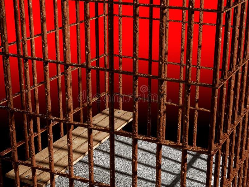 3d de kooi van het metaal, concept gevangenis royalty-vrije stock afbeeldingen