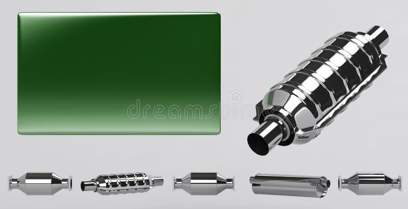 3D de ramassage de silencieux et de plaque verte illustration stock