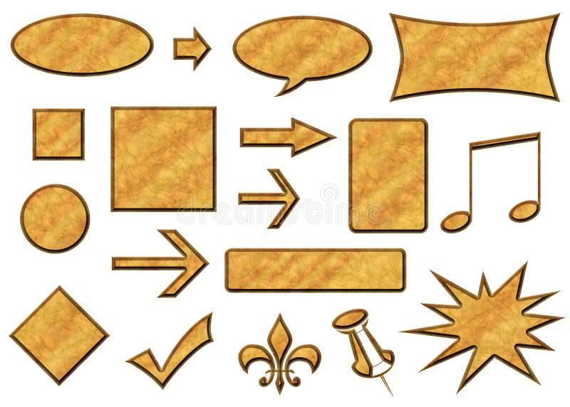 3d di legno abbottona Tan illustrazione di stock