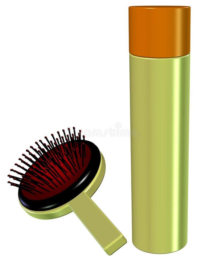 3D di uno spruzzo di capelli e di una spazzola (stile antico) royalty illustrazione gratis
