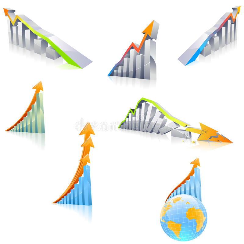 3D Diagram With Arrow Royalty Free Stock Photo