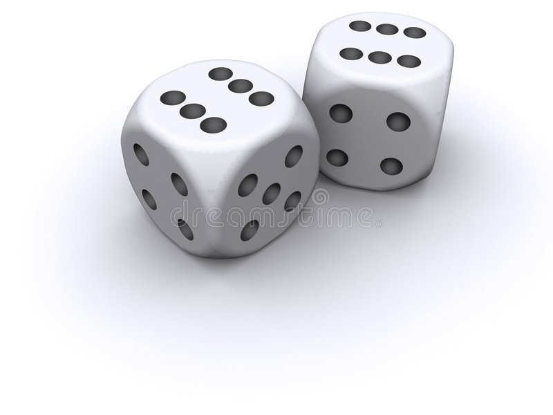 3D Dice. A rendering of clean, 3D dice vector illustration