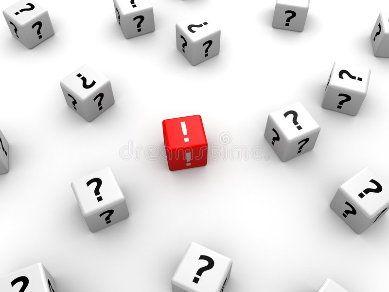3d dice. 3d rendered illustration of many white dice with question marks and one red dice with exclamation mark vector illustration