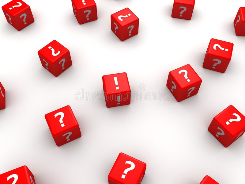 3d dice. 3d rendered illustration of many red dice with question marks vector illustration