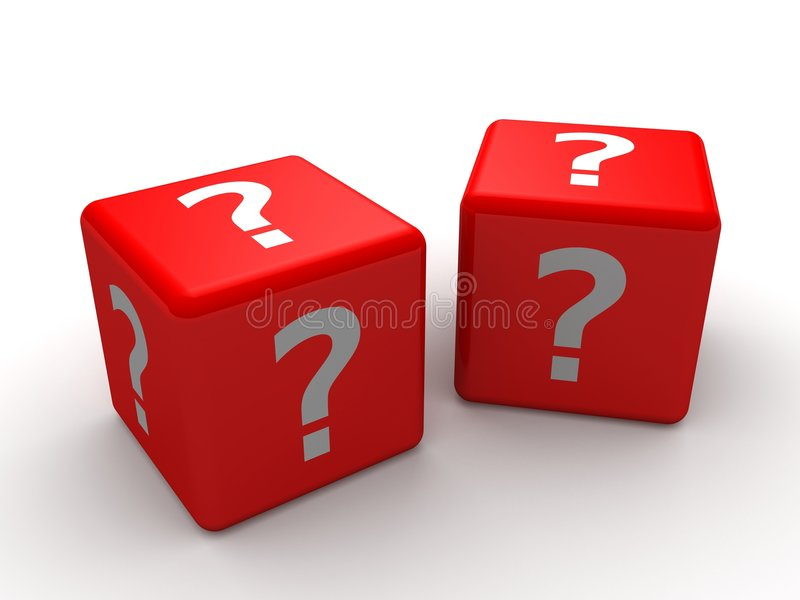 3d dice. 3d rendered illustration of two red dice with question marks stock illustration