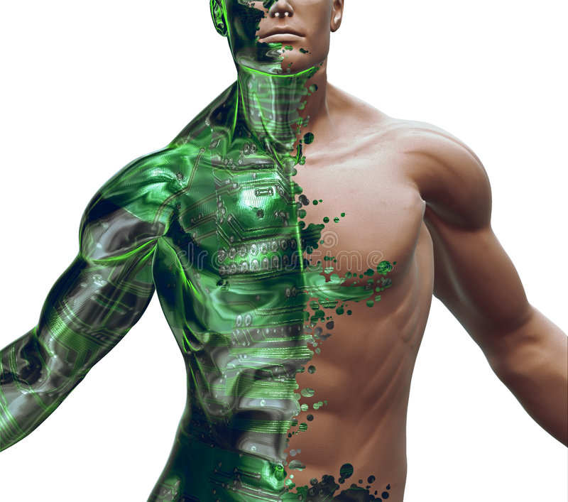 3D Digital Bionic Hybrid stock illustration