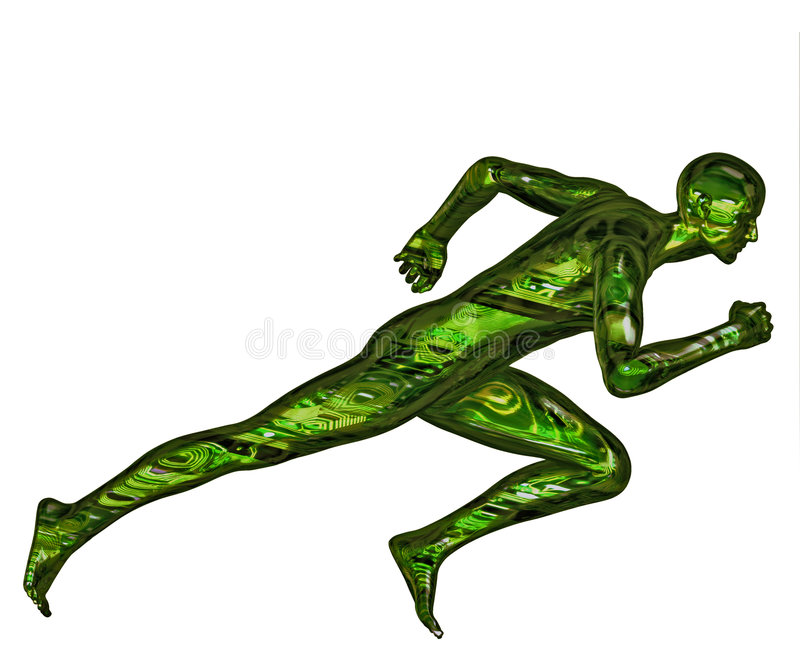 3D Digital Bionic Runner vector illustration