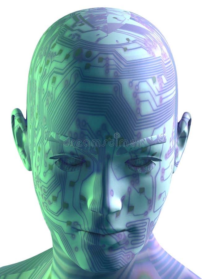 3D Digital Hauptportrait lizenzfreie abbildung