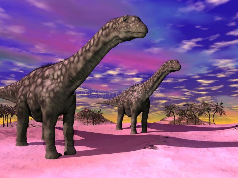 3D dinosaurussen van Argentinosaurus - geef terug royalty-vrije illustratie