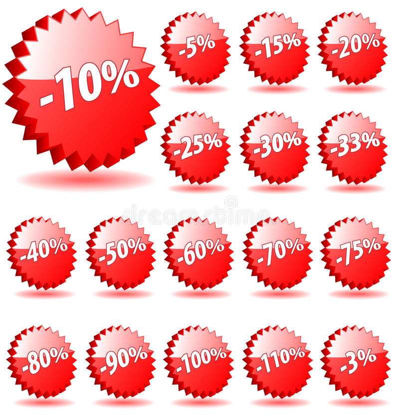 Shopping shop discount promotion vector badges badge special offer percent percents tag sticker icon label star banner coupon 5 stock illustration