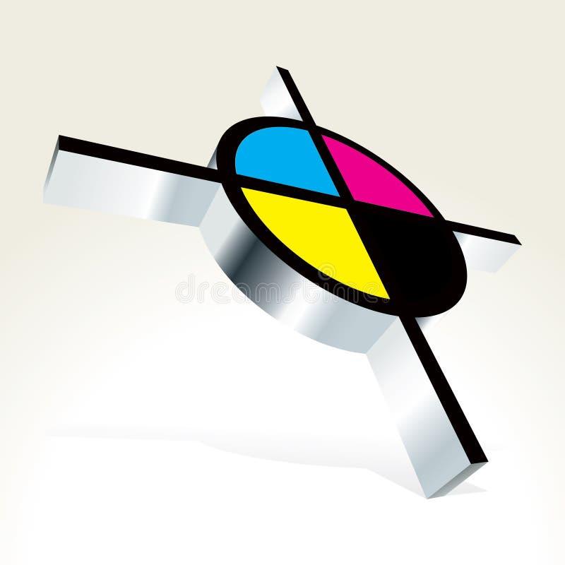 3D doel CMYK vector illustratie