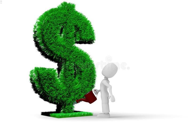 3d dolar trawy mężczyzna podlewanie ilustracja wektor