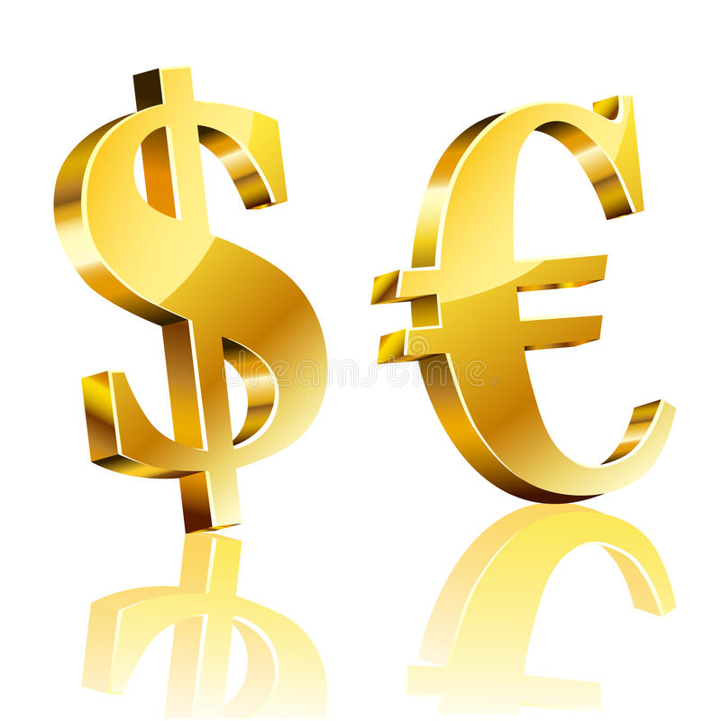 3D dolara i euro znak ilustracji