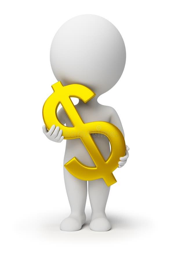 3d dolarowe ręki zaludniają małego symbol ilustracja wektor