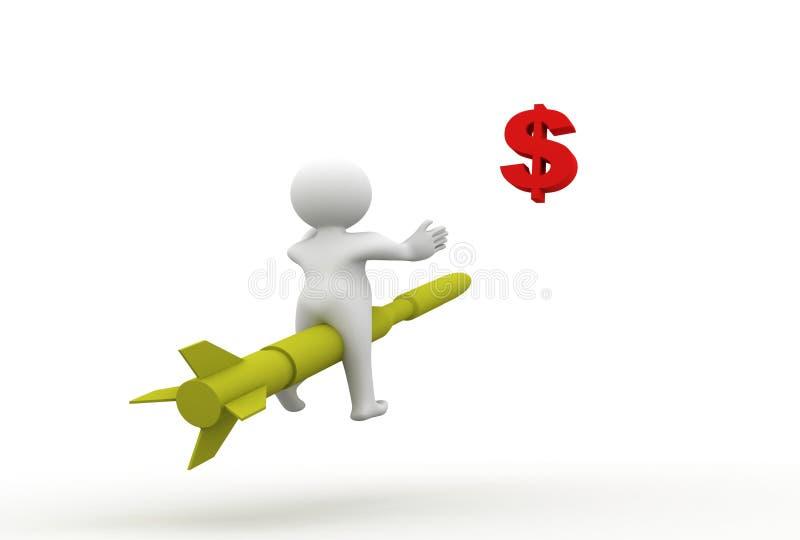 Download 3d Dolarowy Mężczyzna Rakiety Znaka Obsiadanie Ilustracji - Ilustracja złożonej z eagerly, pomysły: 13330043