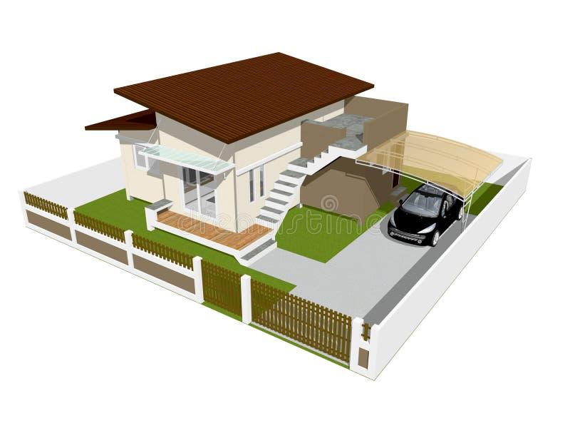 3d dom odizolowywający ilustracja wektor