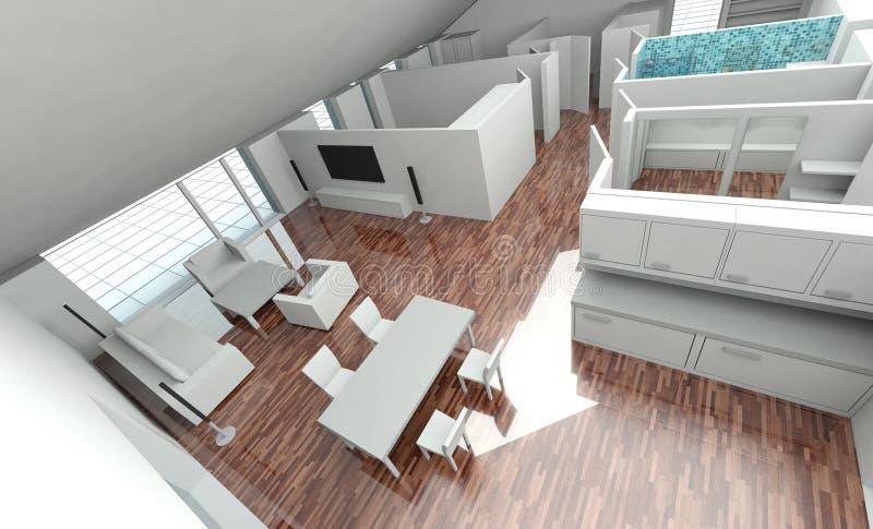 3d domu planu rendering ilustracji