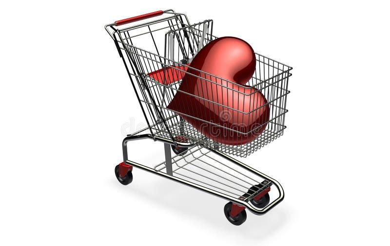3d donkerrood hart in boodschappenwagentje vector illustratie