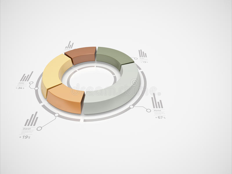 3d donut chart. With numbers and symbols for business statistics and reports vector illustration