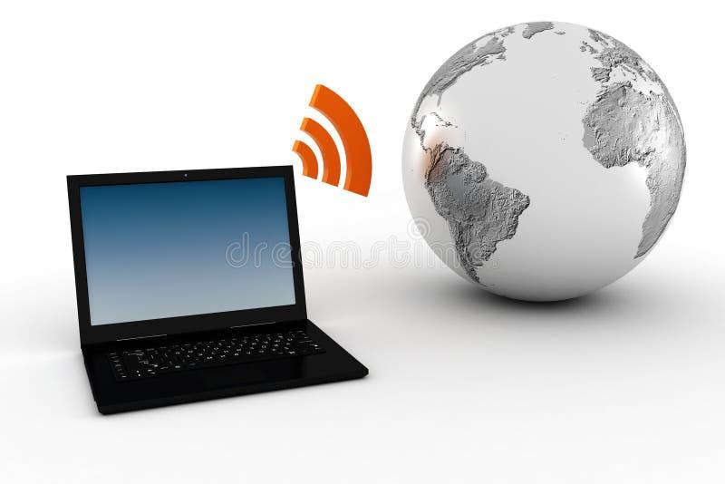 3d draadloze, globale mededeling vector illustratie