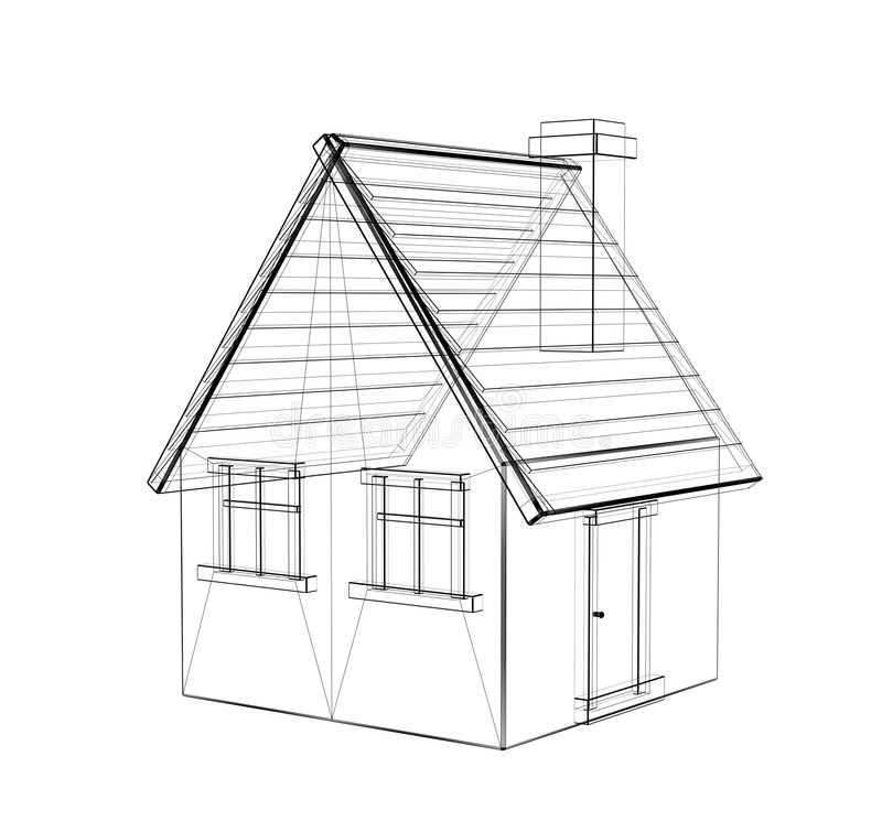 The 3d drawing of a rural house. The drawing of a 3d rural house