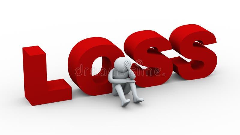 3d droevig mens en woordverlies vector illustratie