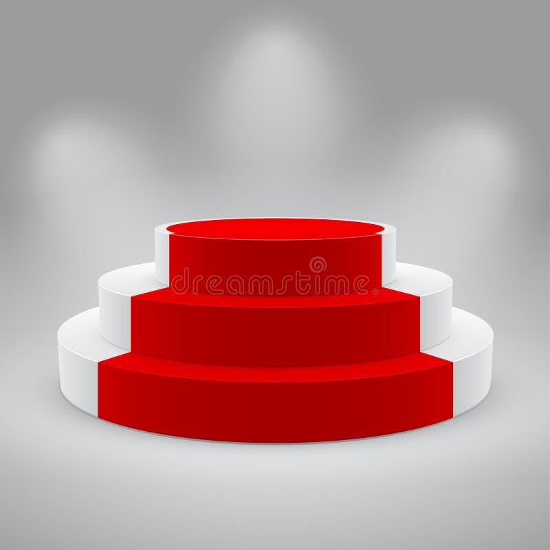 3d dywanu pustego odosobnionego podium czerwony biel royalty ilustracja