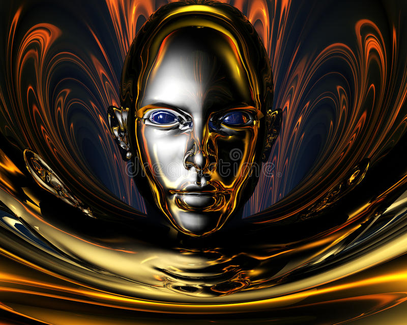 3d dziwaczny dziewczyna metal ilustracji