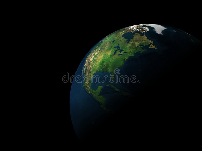 3d earth. In black space