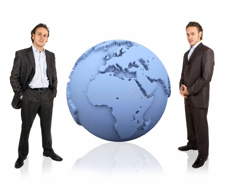 3d earth and businessman royalty free stock photo