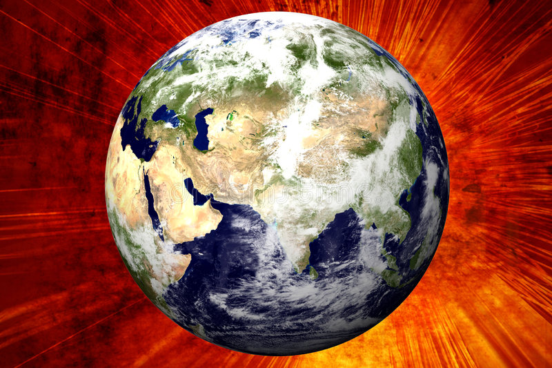 3D Earth on Fire royalty free illustration