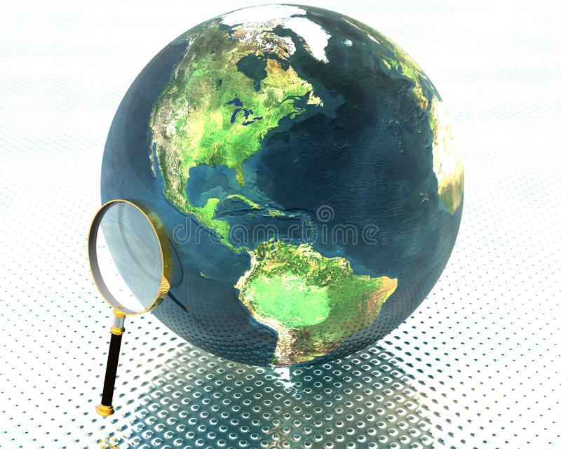 3D earth with magnifier royalty free illustration