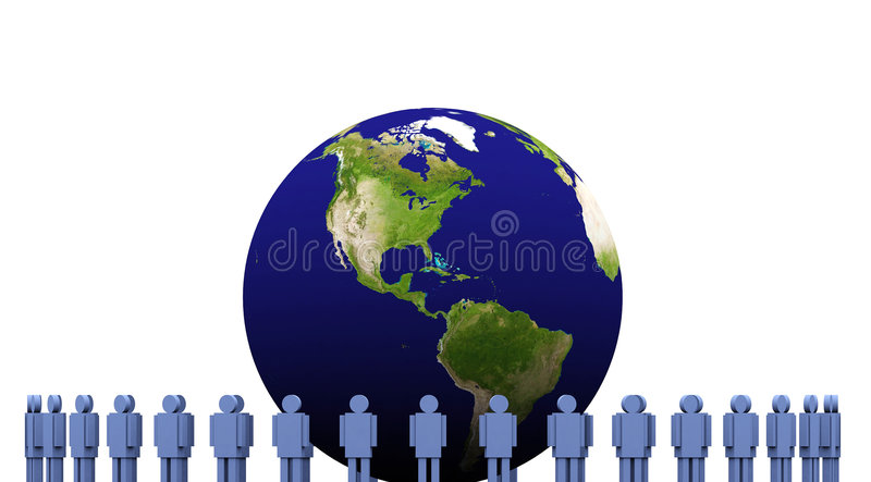 3d earth and men stock illustration