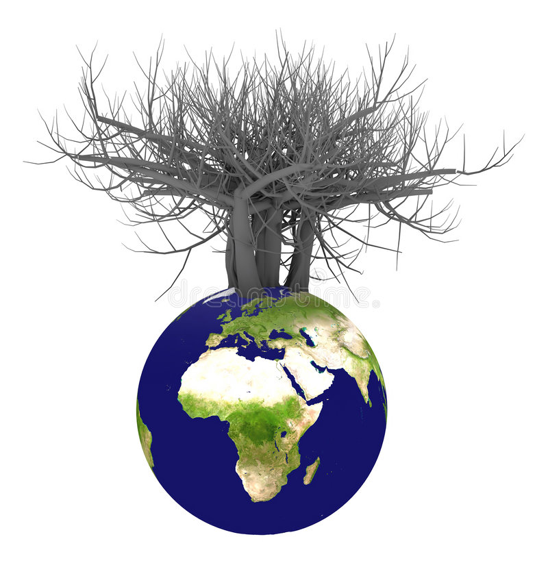 3d earth and tree royalty free stock image