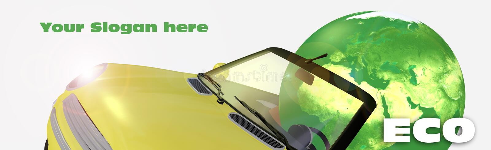3d Eco Car Royalty Free Stock Photography
