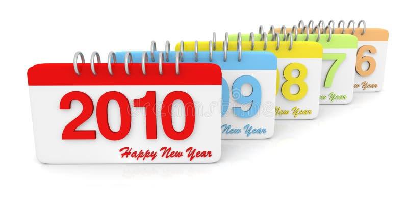 3D eenvoudige 2006 tot de Kalender van 2010 vector illustratie