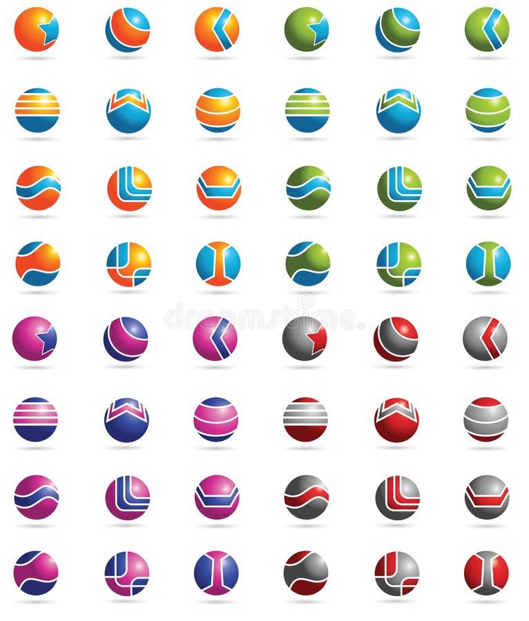 3D elementen van het Embleem royalty-vrije illustratie