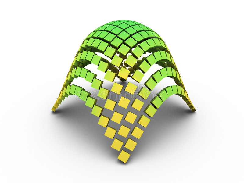 3D elliptic paraboloid graph. Green 3D elliptic paraboloid graph on white background royalty free illustration