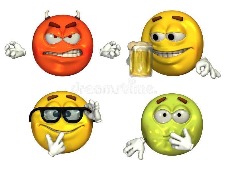 3D Emoticons grandes - conjunto 3 stock de ilustración