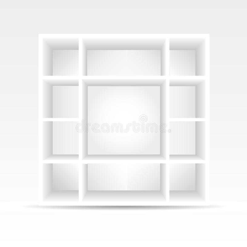 3d empty bookshelf vector illustration