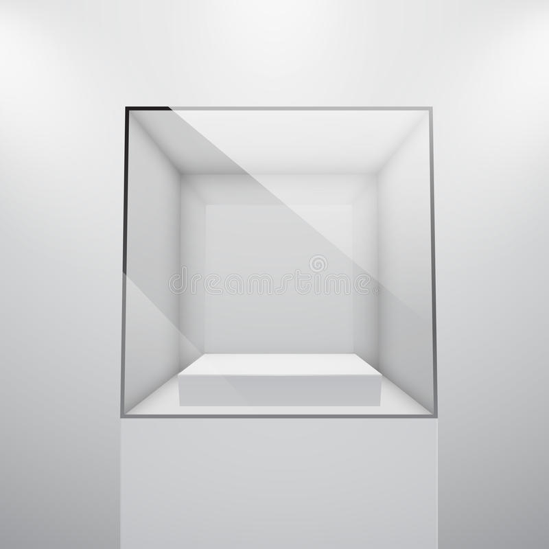 Download 3d Empty glass showcase stock vector. Image of cube, exhibit - 24554250