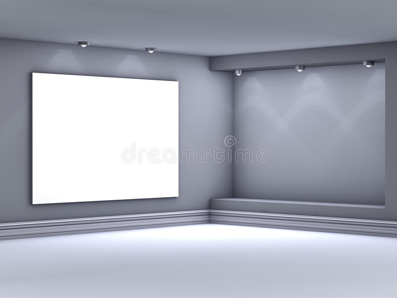 3d empty niche with spotlights for exhibit vector illustration