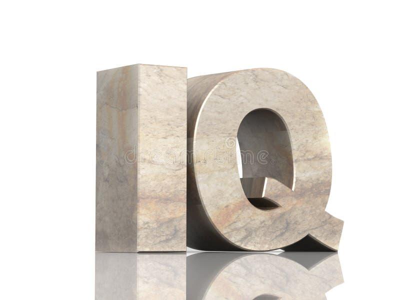 3d en pierre marque avec des lettres I et Q illustration libre de droits